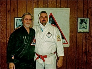 With Shihan Norlander after a spirited workout. Circa 2008