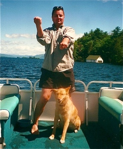 A Sanchin pontoon boat ride with Miko (R.I.P.), Lake George, NY circa 1999