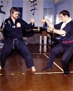 Shihan Wayne Norlander with friend & comrade, Shihan Peter Urban, circa 1970's, West New York, NJ