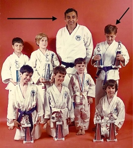 Memories Circa 1973: myself & others with Sensei Nick D'Antuono & my first trophies for kata (Gekisai) & kumite.