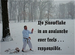 Sanchin Kata in the snow, Hasbrouck Heights, NJ, Winter, 2012